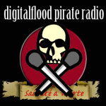 digitalflood Pirate Radio Skull & Cross Mics Logo