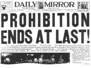 The Daily Mirror News' infamous headline declaring an end to Prohibition.