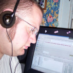 DJ digitalflood editing an episode of Pirate Radio in 2006