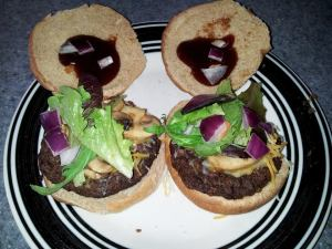 "The ""Whatever I Found in My Fridge"" Burger... delicious!"