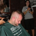 DJ digitalflood getting his head shaved.