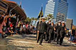 JACKSONVILLE, Fla. (Nov. 11, 2010) Navy ROTC cadets from Jacksonville University march in the Jacksonville Veteran's Day Parade. (U.S. Navy photo by Mass Communication Specialist 2nd Class Gary Granger Jr./Released)
